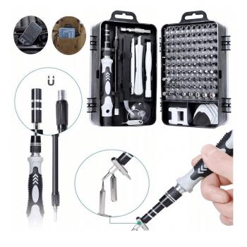 Precisionsverktyg 115 delar, verktygssats med skruvmejslar bits och andra elektronikverktyg
