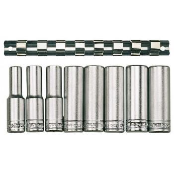 """Hylssats 1/2"""" långa 12-kantshylsor 13-24mm, längd 80mm, Teng Tools"""
