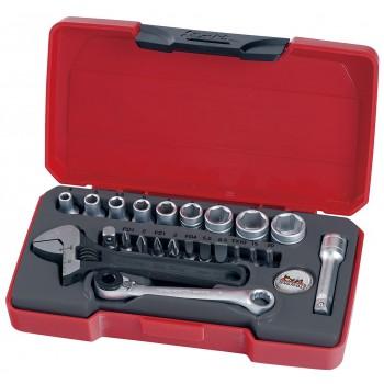 """Hylsnyckelsats 1/4"""", 23 delar, hylsor, bits, skiftnyckel, bitsspärrnyckel, Teng Tools"""