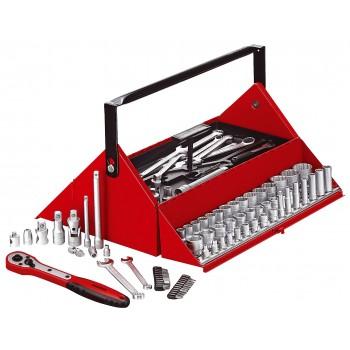 Stor verktygsstas,187 delar i en röd metall låda, Teng Tools