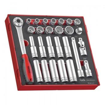 """Hylsnyckelsats  1/2"""" 10-24mm, 12 delar, långa 6-kants hylsor, korta 12-kants hylsor, spärrhandtag, skaft m.m. Teng Tools"""