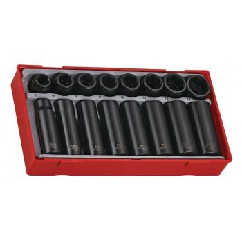 """Hylssats, krafthylsor 1/2"""" 16st långa och korta, svarta, ANSI, Teng Tools"""