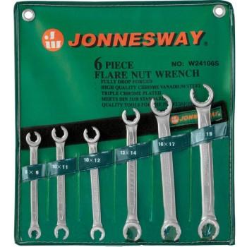 Bromsrörsnyckel, öppen ringnyckla 6 st. 8-19 mm CRV, Jonnesway