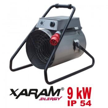 Portabel värmefläkt, byggfläkt 1.8-9 kW 400V 3 fas, IP54, 1000m3/h, Xaram