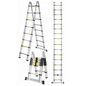 Teleskopstege 440 / 500 cm, kompakt utfällbart stege, aluminium, max 150kg, CE