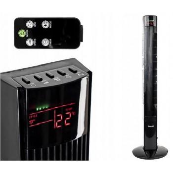Tornfläkt, hög och small pelarfläkt 120cm, tyst stående fläkt, golvfläkt med fjärrkontroll, 55W, svart