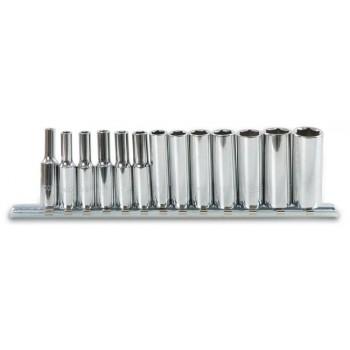 """Långa hylsor, sexkant 1/4"""" 4-14mm förkromade, sats 13st, Beta Tools"""