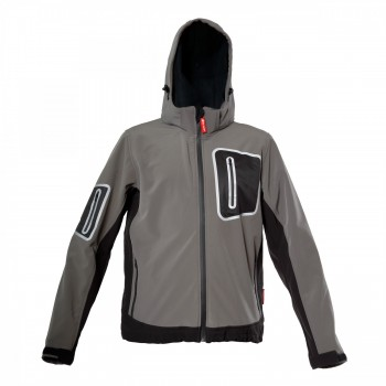 SOFTSHELL JACKET WITH HOOD, GREY, st.  S, CE, LATHI