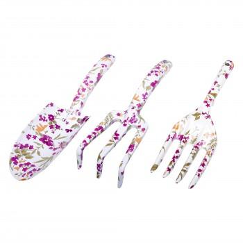 Blomspade och gaflar, set med  3st, aluminium, blommönster, Proline
