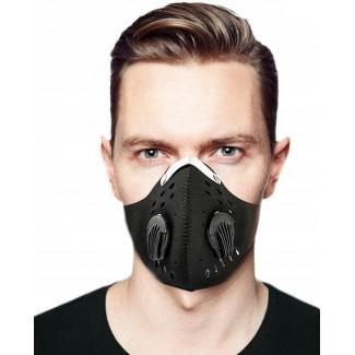 Andningsskydd 1st andningsmask inkl. 1st N95 FFP2 filter, 2 ventiler, neopren, bekväm och tät sportmask, CE