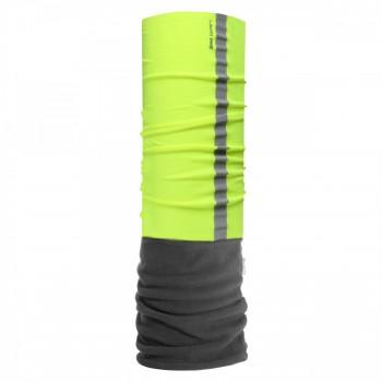 Universal huvudduk / ansiktsmask med reflex och varm fleece, gul-grå