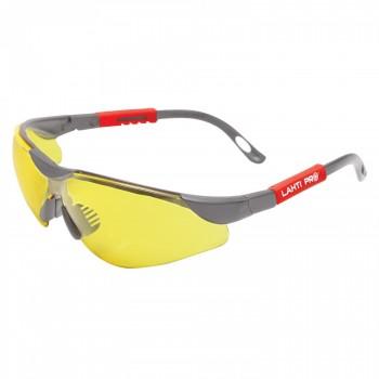 Lätta, gula skyddsglasögon F1, UV, tunna bågar, sjusterbara