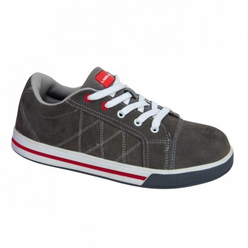 "SHOES, SUEDE, GREY-RED, SB SRA, "" 39"" , CE, LAHTI"