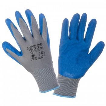 "GLOVES LATEX BLUE-GREY L210407P, 12   PAIRS, "" 7"" , CE, LAHTI"