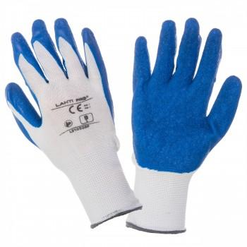 Latexhandskar vit-blåa S-XL, CE, LAHTI