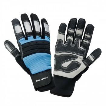 Handskar för mekaniker, st.  9, svart-blå, med reflex, spandex, PVC, CE, EN 420, Lahti Pro L2807