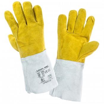 Skyddshandskar för svetsare, st.  11 XL, äkta skinn, 35 cm, brandsäkerhet 4, CE, EN 420, EN 388, EN 407, Lahti L2704