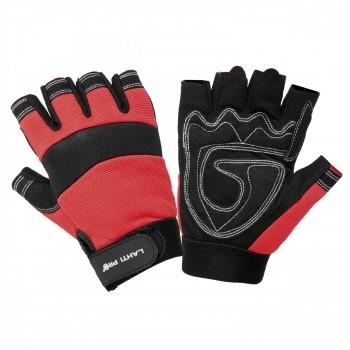 Handskar för mekaniker, svart-röda, utan fingrar, ventilerade, spandex, mikrofiber, CE, EN 420, Lahti Pro L2806