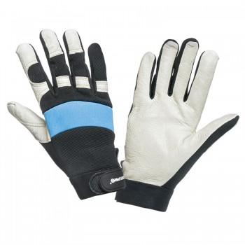 Handskar av äkta grisskinn, svart-blå-vita, ventilerade, spandex, mikrofiber, CE, EN 420, Lahti Pro L2804