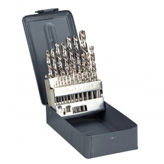 Metallborr HSS (spiralborr), sats 25st 1-13mm, i metallbox, DIN338, PROLINE